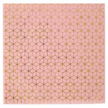 20 Fliesen Servietten gold rosa