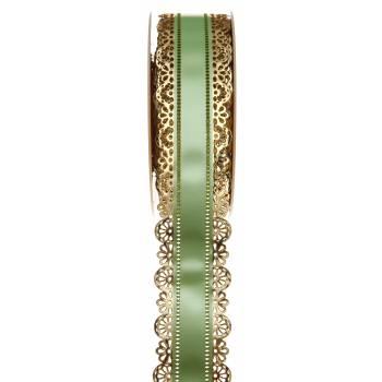 Charlotte Band Spitze Gold grün 40mm