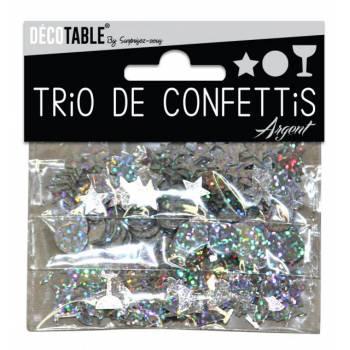 Trio von Tisch Konfetti Silber
