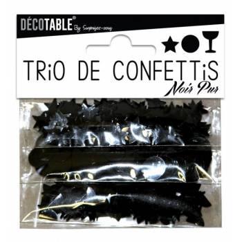 Trio aus schwarzem Tischkonfetti