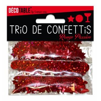 Roter Konfetti-Trio