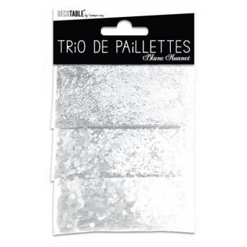 Trio aus weißem Tisch Glitzer