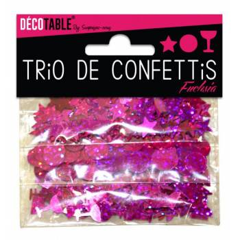 Trio von Tischkonfetti fuchsia