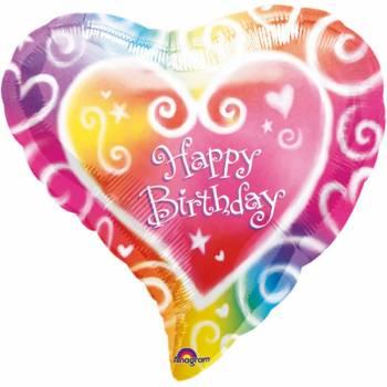 Helium-Ballon Herz Color Happy birthday