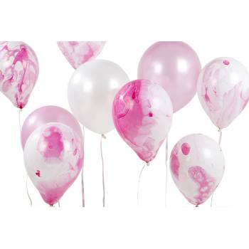 12 Marmorierte Ballons rosa
