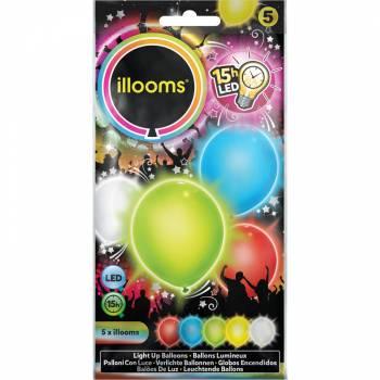 5 mehrfarbige Lichtballons