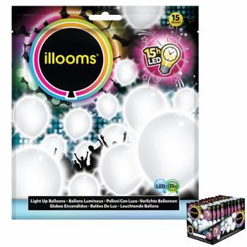 15 Weiße leuchtende Ballons