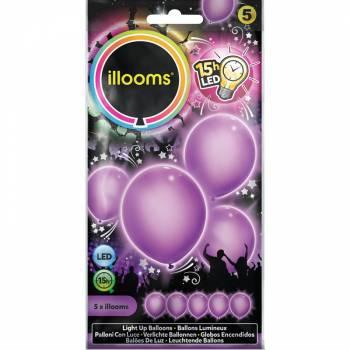 5 Lila Leuchtballons