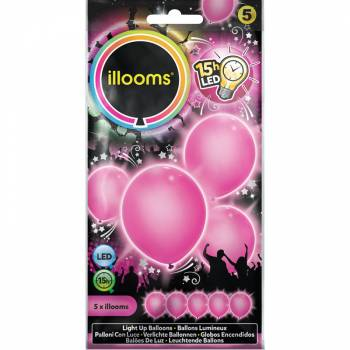 5 leuchtende Ballons rosa