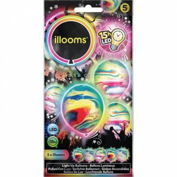 5 leuchtende marmorierte Ballons
