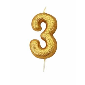 Kerze Ziffer 3 glitter Gold