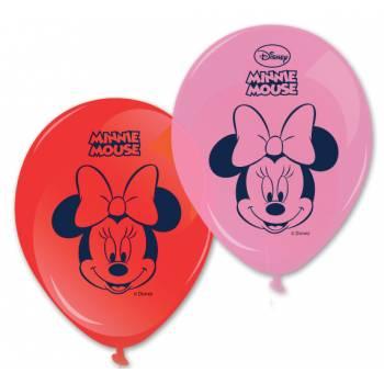 8 Minnie Ballons rosa und rot