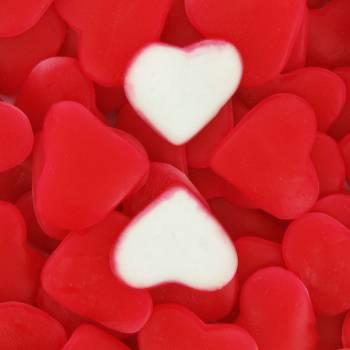 Gelifizierte Süßigkeiten Rot und Weiß Herz 1 KG