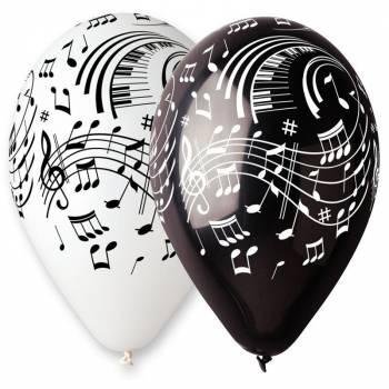 10 Ballons Note schwarz/weiß Musik