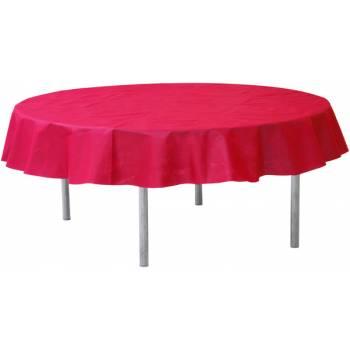 Runde, rot eingewebte Tischtuch