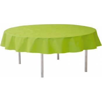 Grüne runde, eingewebte Tischdecke