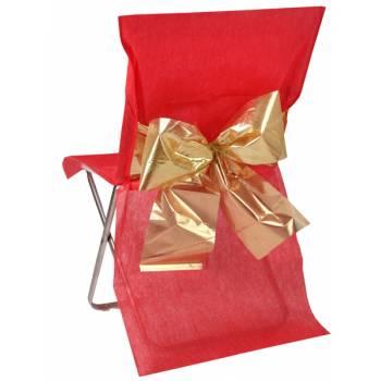 4 Stühlebezüge rot Metallic Gold Knoten