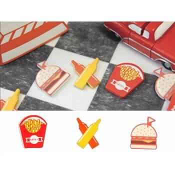 6 Fast Food Tischkonfetti