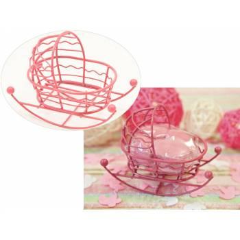 Mini-Wiege aus rosa Metall