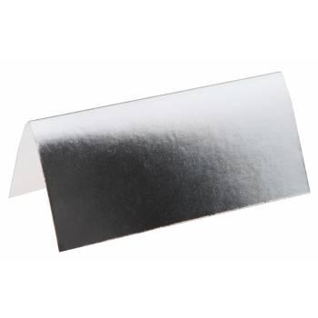 10 Namensschild rechteckig metallisiert Silber