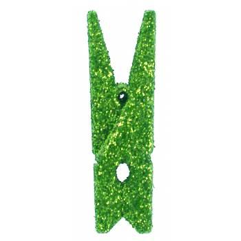 6 Klammer mit Pailleten Grün