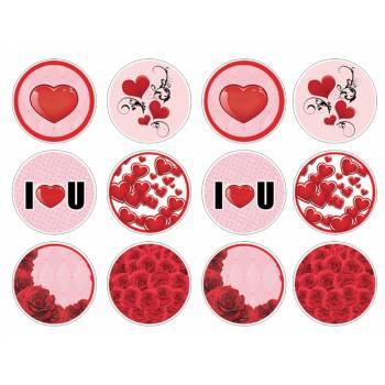 12 Essbare Muffinaufleger Liebe