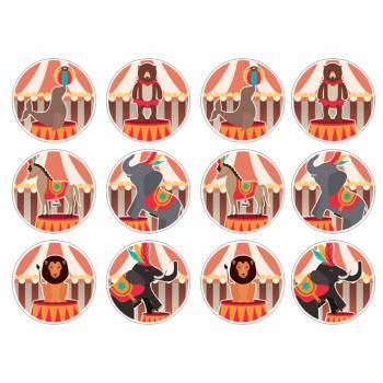 12 Essbare Muffinaufleger zirkus
