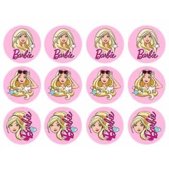 12 Essbare Muffinaufleger Barbie Pop Star