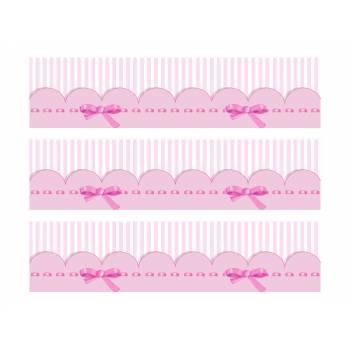3 Kuchen Bänder Zucker Dekor Baby rosa