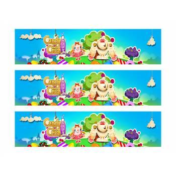 3 Kuchen Bänder Zucker Dekor Candy Crush