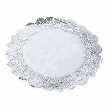 6 Deckchen Silber Spitze