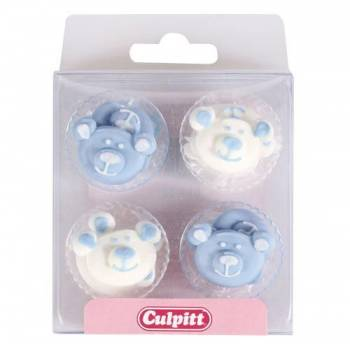 12 Mini-Dekor aus zuckerblauen Bären