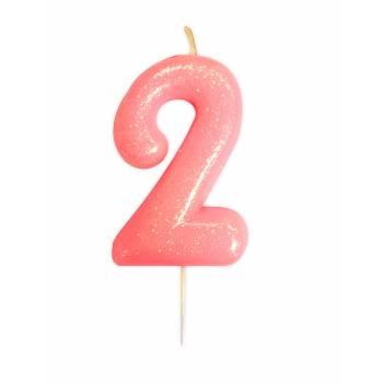 Kerze Ziffer Nr. 2 rosa Gold Glitter