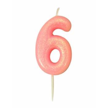 Kerze Ziffer Nr. 6 rosa Gold Glitter