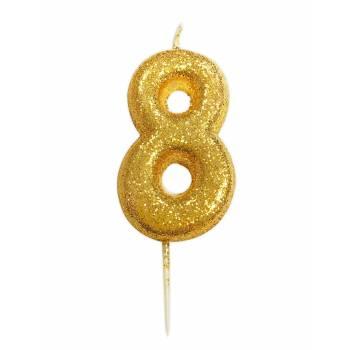 Kerze Ziffer 8 glitter Gold