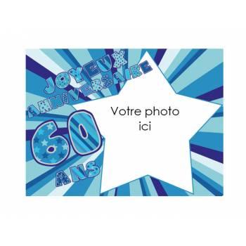 Dekor auf Zucker 60 Jahre Blau A4 zu personalisieren