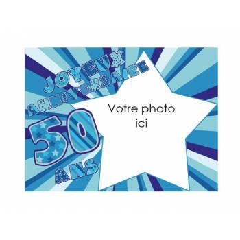 Dekor auf Zucker 50 Jahre Blau A4 zu personalisieren