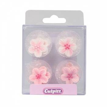 12 Mini Rosa Blumen aus Zucker