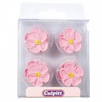 12 Rosa Blumen aus Zucker