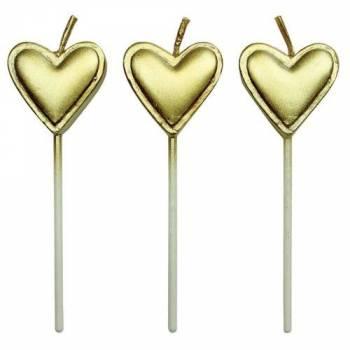 8 Kerze Herz Gold
