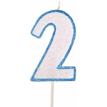 Kerze blau glitzerte Figur 2