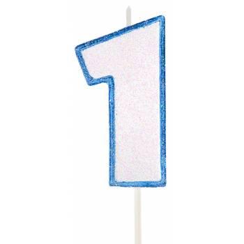 Kerze blau glitzerte Figur 1