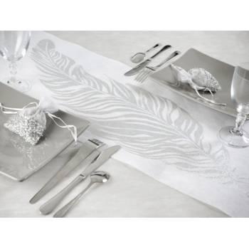 Tisch-Pfad Feder Silber/Weiß