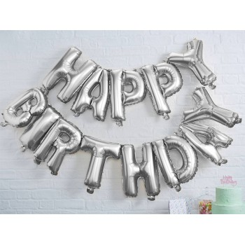 Strauß Luftballon Happy Birthday Silber