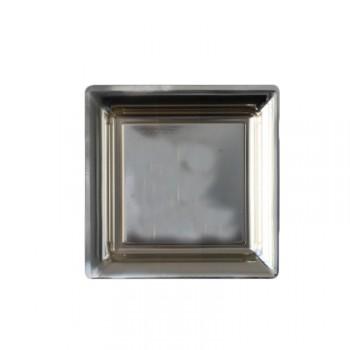 6 Quadratische Teller Kunststoff Dessert Silber