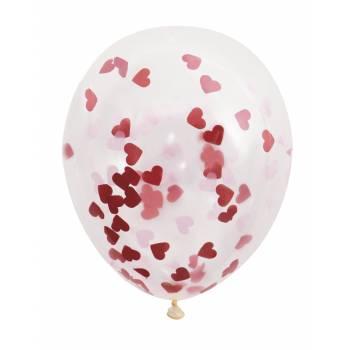 5 Ballons Konfetti rot Herz