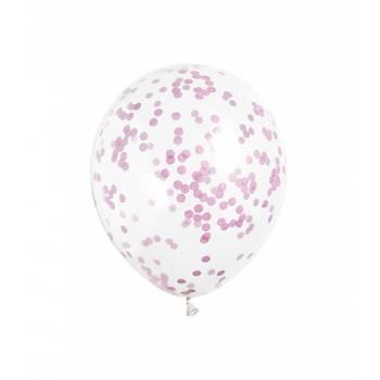 5 Ballons Konfetti rosa