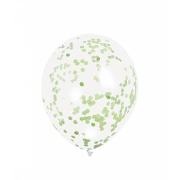 5 Ballons Konfetti grün lime