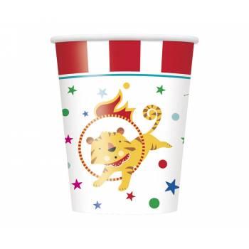 8 Becher Karneval circus