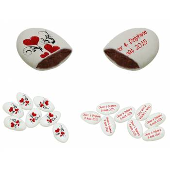110 Personalisierte Schokoladendragees Dekor Herz-Ornament Text